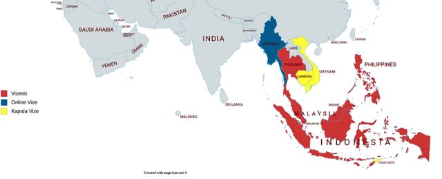 Güneydoğu Asya Vizesiz Ülkeler ülke haritası