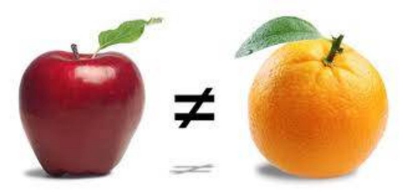 Apples do not equal oranges.