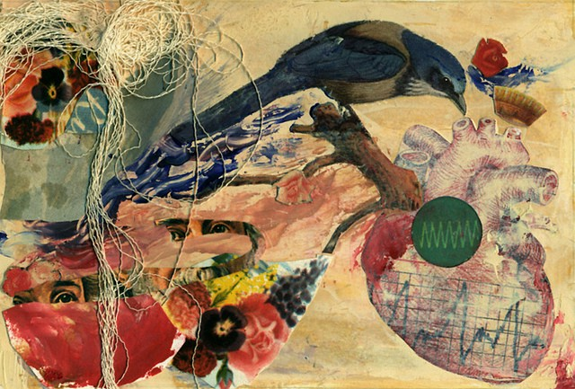 Description: A collage that includes an image of a bluebird, an anatomical drawing of a heart, two images of eyes, bright flowers, some thread and strokes of paint in reds and blues.