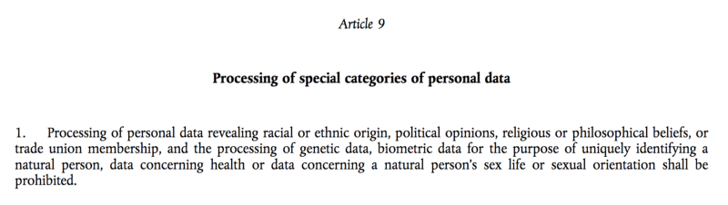 GDPR Article 9 Paragraph 1 全文