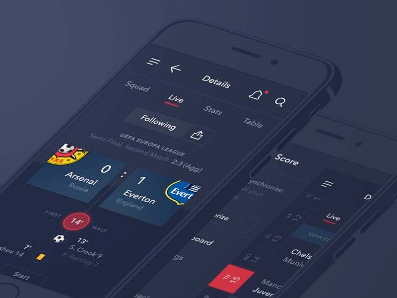 Sport scores application dark mode User interface design