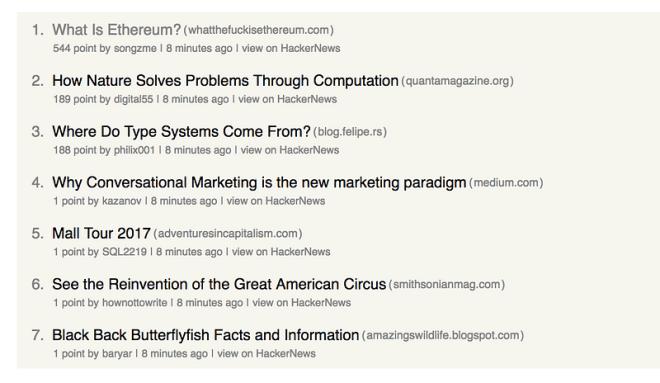 A screenshot of a hacker news feed