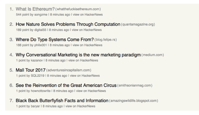 A screenshot of a hacker news feed