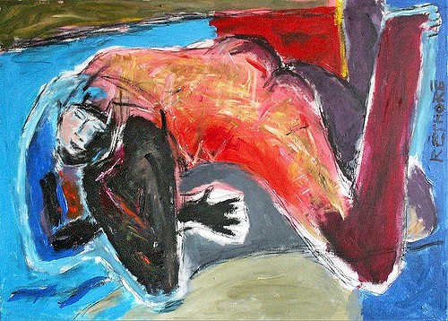 An abstractly painted nude figure lies down with their head resting in their hand. The painting is in bright shades of blue and red.
