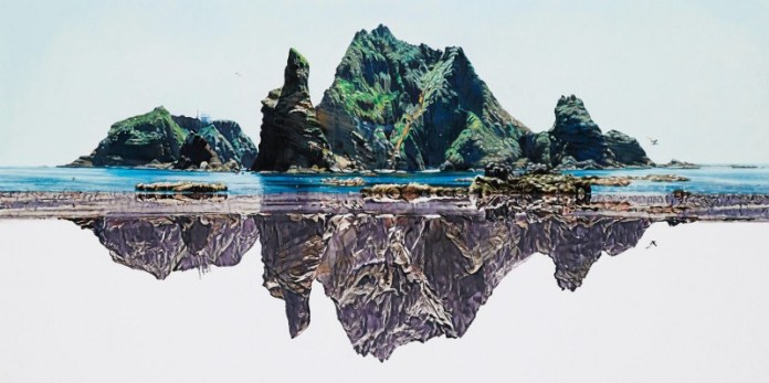 collaboration art piece #2: Painting of Dokdo (photo from Pulse 9 website)