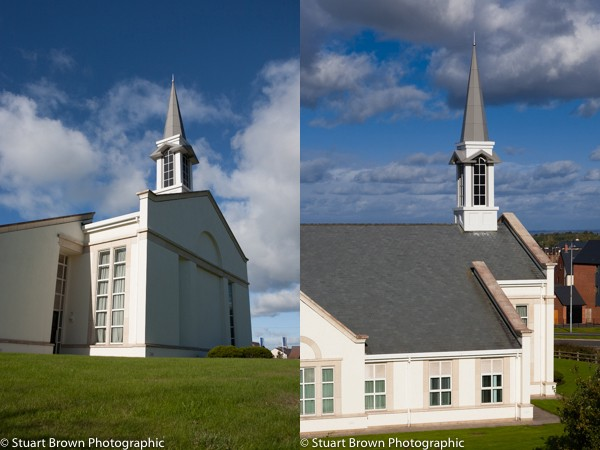 Shots of a church, with and without vertical perspective