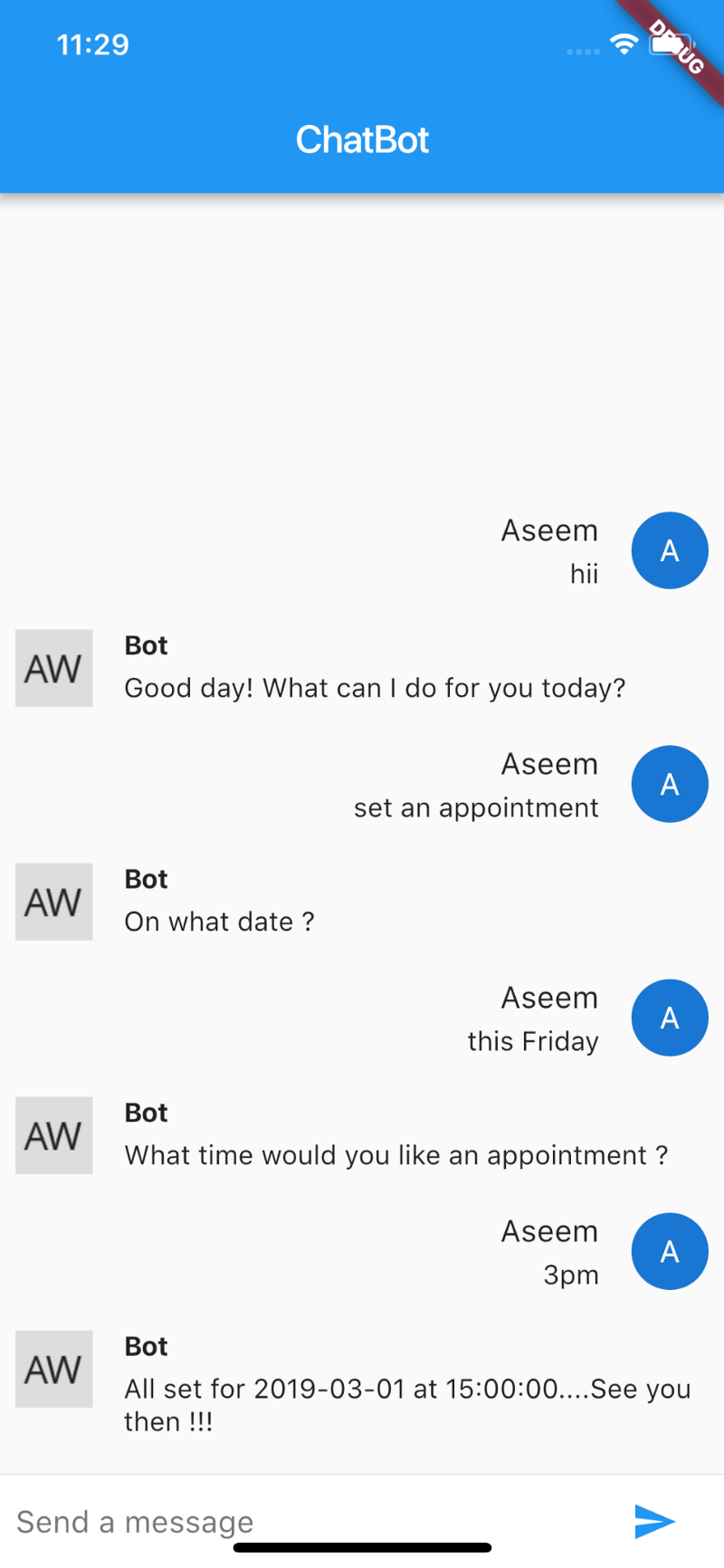 Flutter and bots (dialogFlow)