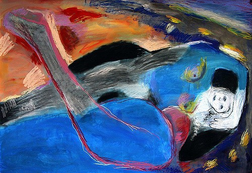 Description: A nude figure sprawls, with one arm at their head. The figure is painted abstractly in bright blues and greys. The blue extends into the background, along with varying shades of orange and purple.
