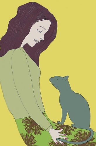 Against a yellow background, an illustration of a person looking down, with a calm expression, at a cat on their lap. The cat looks back up at them.