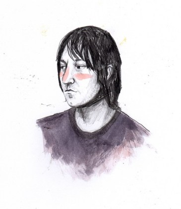 Description: A drawing of a person's face and shoulders, against a white background. Their face is turned to the to the side and they look into the distance with a serious expression
