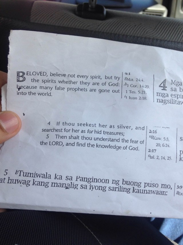 I never got the cabdriver's name, but I got a picture of one of his materials. May God bless that man.