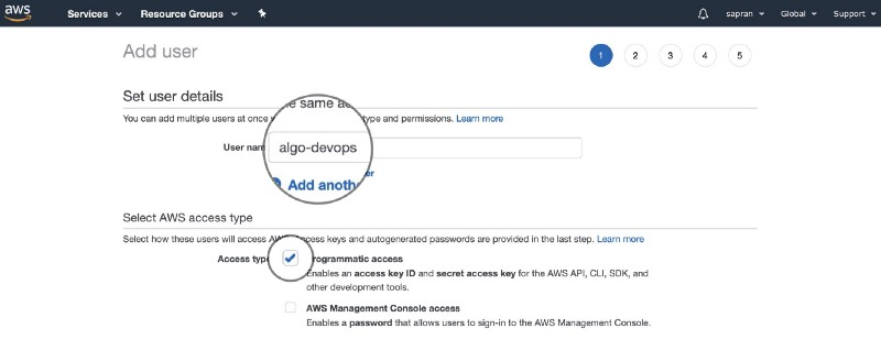 Create Algo user in AWS IAM