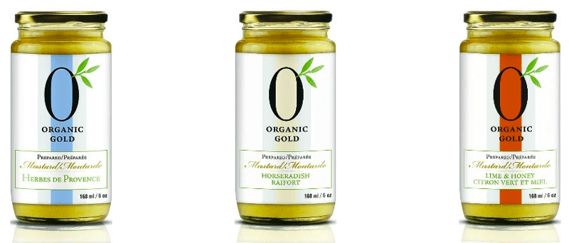 Organic gold mustard in various flavours