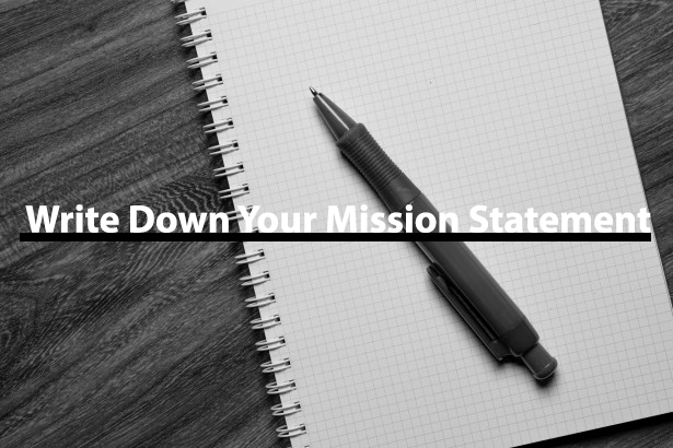 Image saying; write down your mission statement.
