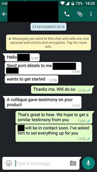 message from a referred customer