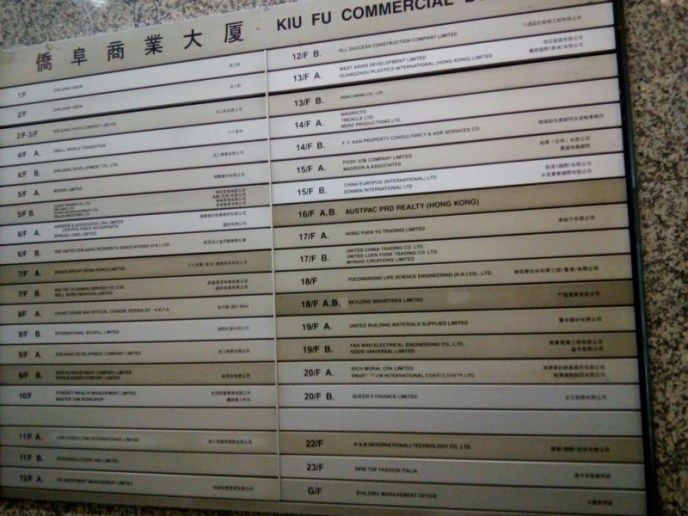 After arriving he takes a photograph of a board listing all of the building's operating businesses. It had no mention of KuCoin.