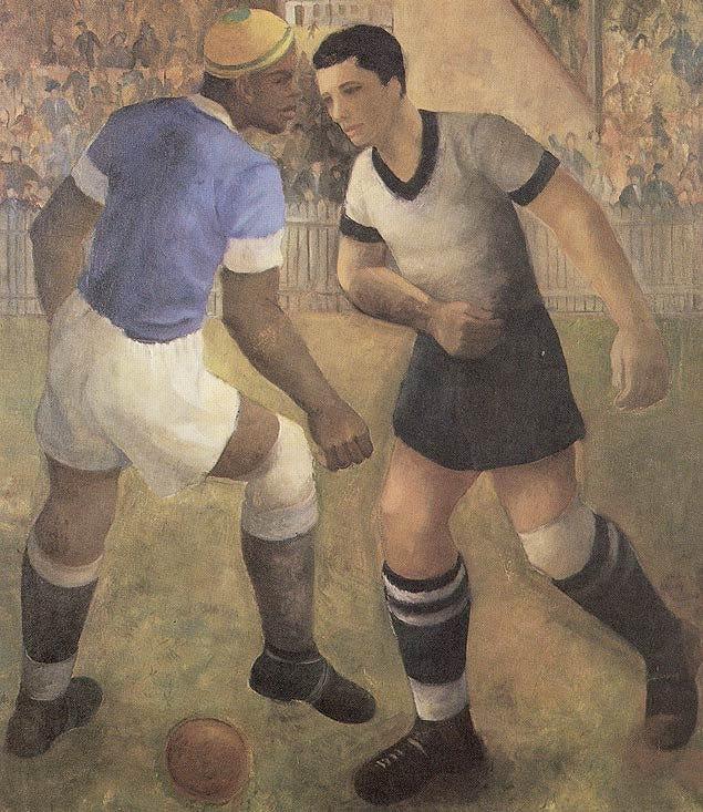 Futebol, de Francisco Rebolo. 1936. Quadro do artista era uma crítica social ao esporte elitizado