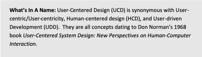 User-Centered Design (UCD) is synonymous with User-centric/User-centricity, Human-centered design (HCD), and User-driven Deve