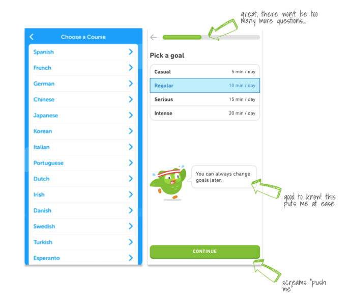 "The ""choose a language"" and ""pick a goal"" app screens from Duolingo app."