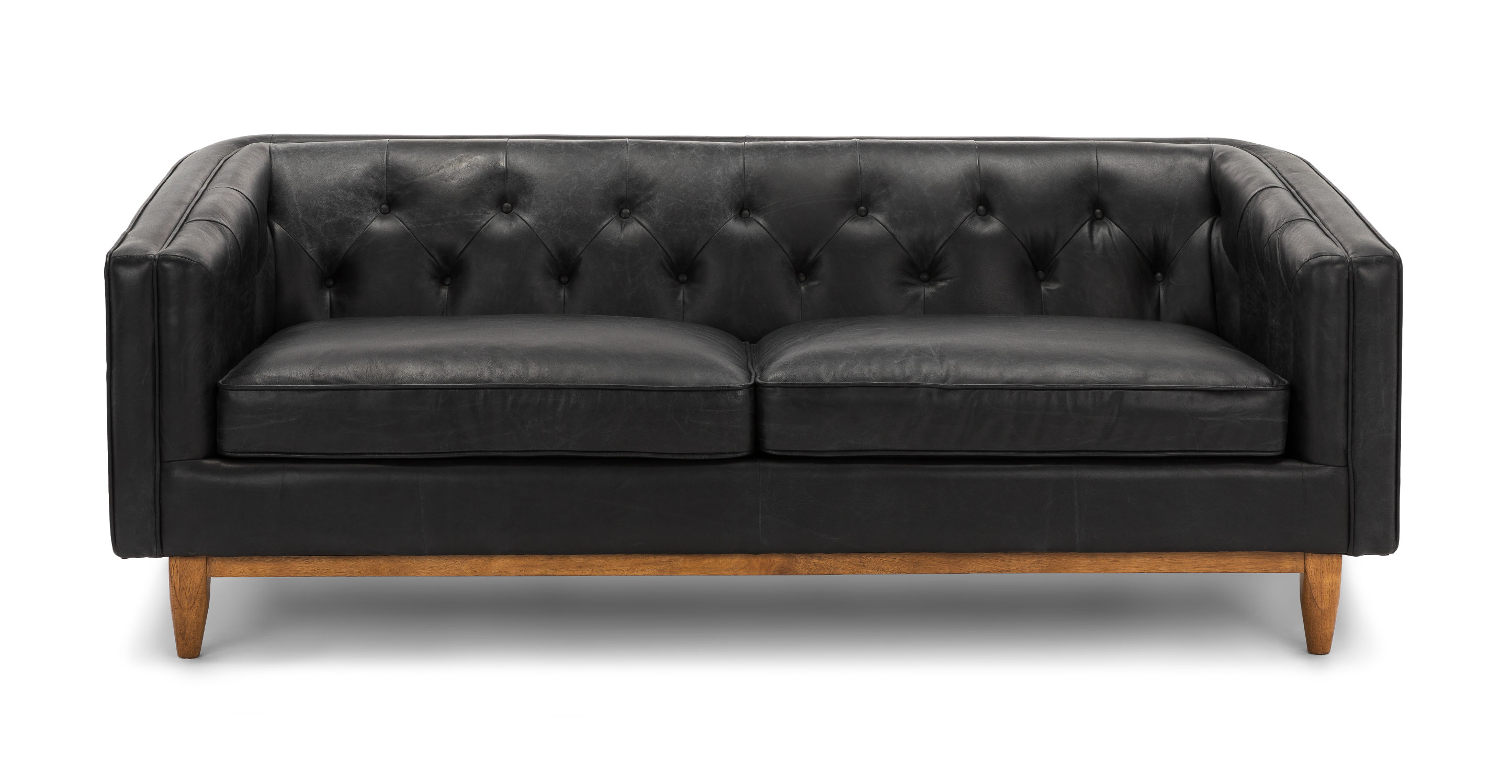 Oxford Black Alcott 3 Seater Leather Sofa Article