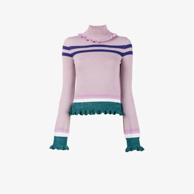 Valentino turtle neck frill long sleeve jumper, $975