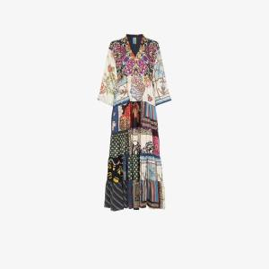 Rianna + Nina Womens Multicolour Multi Floral Polka Dot Print Silk V-neck Kaftan Dress
