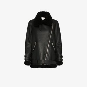Acne Studios Womens Black Velocite Shearling Aviator Jacket
