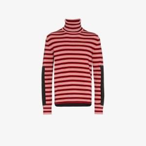 Moncler Grenoble Mens Pink Stripe High Neck Wool Jumper