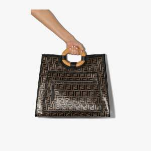 Fendi Womens Black Large Runaway Shopping Tote