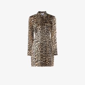 Ganni Black, Brown And White Womens Black Leopard Print Silk Shirt Dress