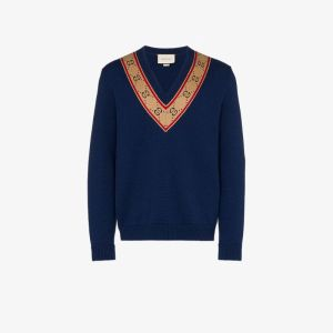 Gucci Mens Blue V-neck Gg Print Collar Sweater