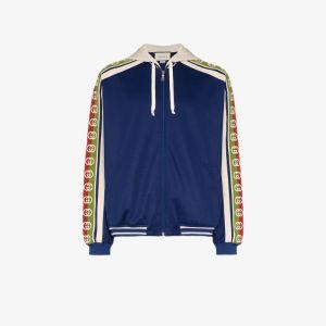 Gucci Mens Blue Logo Tape Zip-front Bomber Jacket