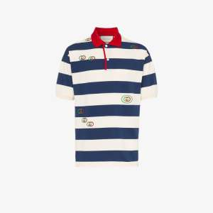 Gucci Mens Neutrals Logo Embroidered Striped Polo Shirt