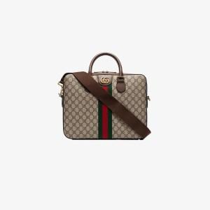 Gucci Mens Neutrals Brown Gg Supreme Briefcase