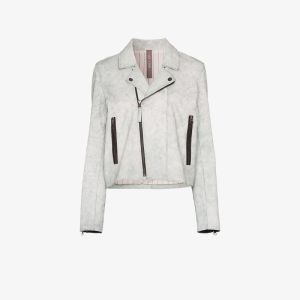 Lot Lthr Womens White Zipped Biker Jacket