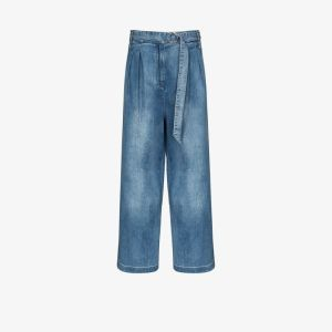 Tibi Womens Blue Stella Wide Leg Jeans