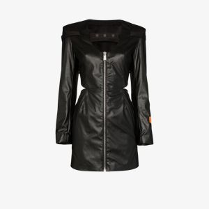 Heron Preston Womens Black X Sami Miro Cutout Vegan Leather Mini Dress