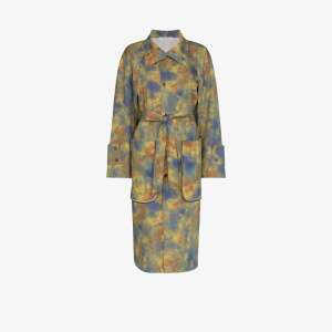 Delada Womens Green Tie-dye Print Trench Coat