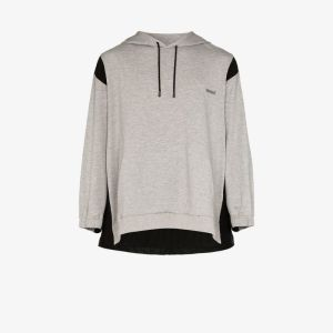 Koché Mens Grey Decoupe Contrast Detail Jersey Hoodie