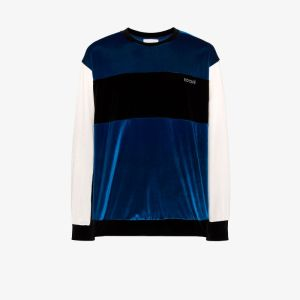 Koché Mens Blue Velvet Crew Neck Sweatshirt