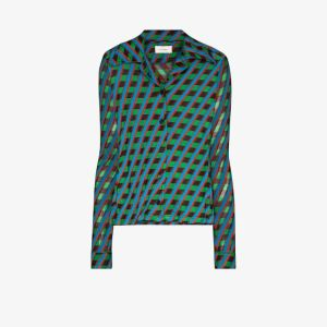 Wales Bonner Womens Blue Mambo Geometric Print Shirt