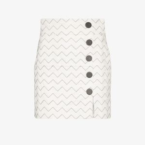 Skiim Womens White Sienna Zigzag Leather Skirt