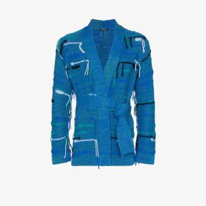 Canessa Mens Blue Psychedelic Frayed Knit Cardigan