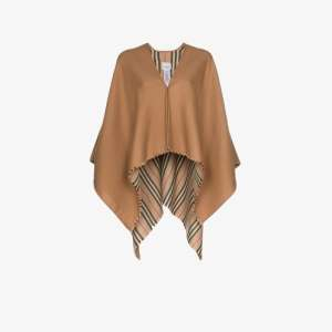 Burberry Womens Brown Icon Stripe Detail Wool Cape