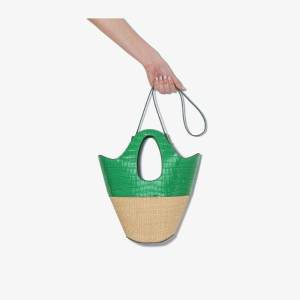Danse Lente Womens Neutrals Green And Neutral Small Leather And Raffia Tote Bag