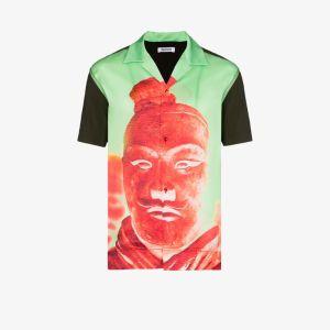 Pronounce Mens Green Statue Print Button-down Shirt