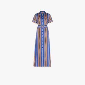 Evi Grintela Womens Blue Badi Striped Shirt Dress