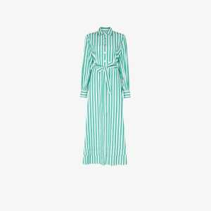 Evi Grintela Womens Green Lily Striped Shirt Dress