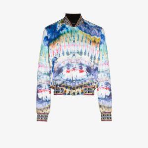 Amiri Mens Blue Tie-dye Bomber Jacket