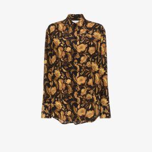 Matteau Womens Black Hibiscus Print Silk Shirt